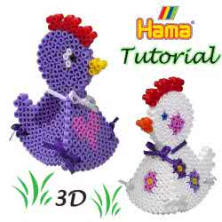 Galline 3d con le Hama beads