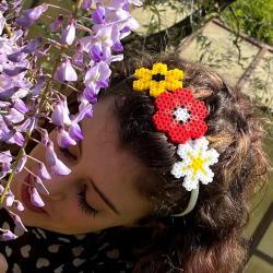 Cerchietto con fiori fai da te