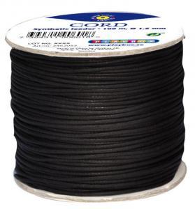 Cordoncino cuoio sintetico 1,5 mm x 100 m - Nero