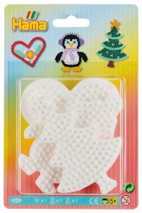 basi per pyssla albero di natale, pinguino, cuore