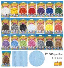 Assortimento Hama Beads Midi - 22 Bustine + 2 Basi